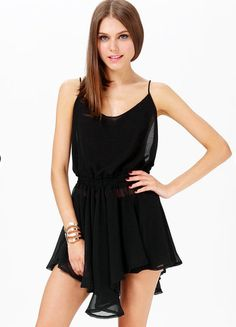 Black Pleated String Dress