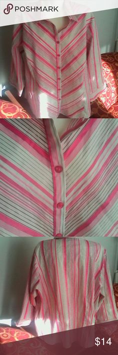 Pink White Stripe Stretch Shirt 3X Womans Plus This is a plus size woman's shirt by BLUE Diamond Plus in a size 3X.   Long sleeve, buttons down front.  Princess seams for fit.  Polyester nylon spandex, washable.  Pink and white and fine black stripes with silver threads running thru.  In excellent used condition. Blue Diamond Stretch Tops Button Down Shirts