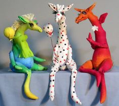 Whimpey Dragon, Giraffe & Horse Cloth Sewing Doll Animal Pattern