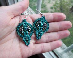 Micro macrame earrings Teal Emerald Bohemian by MartaJewelry