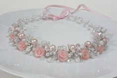 Bridal Flower Pearls CrownPink Roses Headpiece Pearls by CyShell