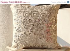 Mothers Day SALE Ivory white throw pillows with by AmoreBeaute