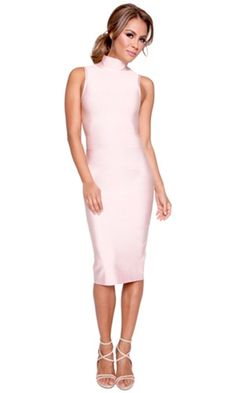 Chance Encounter Blush Pink Sleeveless Mock Neck Bodycon Bandage Midi Dress