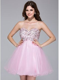 A-Line/Princess Sweetheart Short/Mini Tulle Dress With Lace Beading - Front View