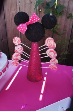 red and white swirl lollipops in minnie mouse display/ change colors for Mickey