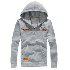 AASS Hot Men's Ethnic Style Vintage Patch Solid Color Pullover Hoodies Sweatshirt Light Gray M