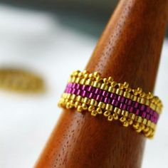 Bohemian Royal Purple & Gold Embelished Beaded Ring