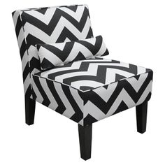 A: Skyline Furniture Armless Chair in Zig Zag, Black and White: Furniture & Armless Accent Chair, Accent Chairs, Living Room Chairs, Living Room Furniture, Living Rooms, Black And White Chair, Black White, Color Black, Puff