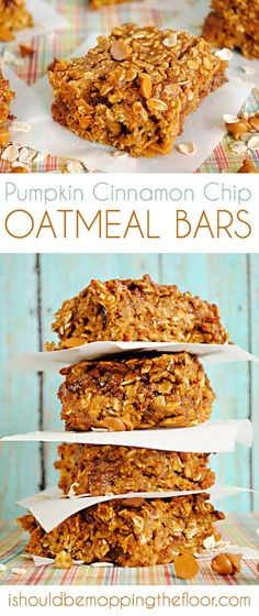 These Pumpkin Cinnamon Chip Oatmeal Bars are the perfect treat... or even breakfast-to-go! They're delicious and packed with the flavors of fall.