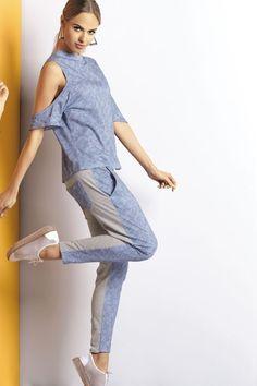 P-490/1 Piżama w dżinsowym stylu #piżama #jeans #stylowa #niebieska #pajamas