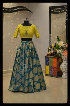 Half Sarees & Crop Tops is part of Lehenga blouse - Long Gown Dress, Lehnga Dress, Lehenga Blouse, Indian Gowns Dresses, Indian Fashion Dresses, Indian Designer Outfits, Half Saree Designs, Lehenga Designs, Blouse Designs