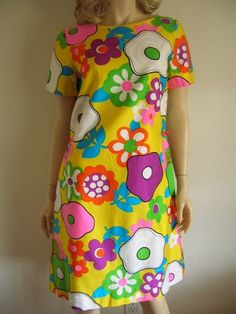 60s 70s Alice Polynesian Fashion Bright Psychedelic MOD Mini Dress $40 Vintage Clothing SOLD!!