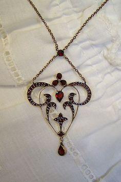 Bohemian Garnet Chandalier Style Pendant Gorgeous Antique Piece!