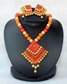 Buy diamond #pendant #terracotta #necklace set online from #craftshopsindia