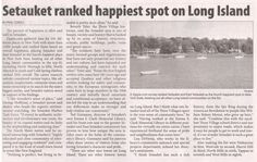 Article in response to survey that says Setauket is the happiest town on Long Island...featuring Emma Clark employees.