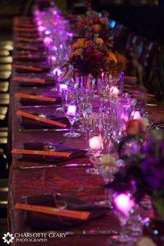 Beautiful twinkling purple place setting.