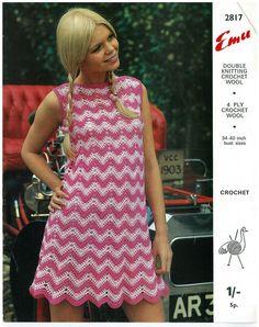"""ladies retro crochet zig zag dress vintage crochet pattern size 34-40"""" chest PDF"""