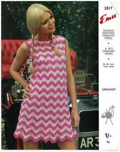 "ladies retro crochet zig zag dress vintage crochet pattern size 34-40"" chest PDF"