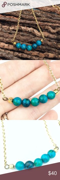 """Australian Jasper and Gold Necklace   Australian Jasper and Gold Necklace  Jasper is known for healing properties beneficial for grounding, stability, and strength Absolutely Gorgeous Blue-Green  14k gold plated. 7-7.5"""" length  wila Jewelry Necklaces"""