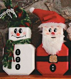 Country Woman Crafts I Idea Gallery I Winter Crafts Painted Bricks Crafts, Brick Crafts, Painted Pavers, Stone Crafts, Wood Crafts, Christmas Craft Projects, Cute Crafts, Holiday Crafts, Crafts To Make