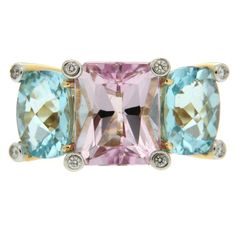 Colori Pink Tourmaline Blue Topaz Diamond Gold Ring   From a unique collection…