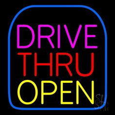 Drive Thru Open Neon Sign 24 Tall x 24 Wide x 3 Deep, is 100% Handcrafted with Real Glass Tube Neon Sign. !!! Made in USA !!!  Colors on the sign are Blue, Pink, Red and Yellow. Drive Thru Open Neon Sign is high impact, eye catching, real glass tube neon sign. This characteristic glow can attract customers like nothing else, virtually burning your identity into the minds of potential and future customers. Drive Thru Open Neon Sign can be left on 24 hours a day, seven days a week, 365 days a…