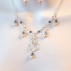 Wire Work Wedding Necklace Set - Pearl Necklace - Wire Work Necklace - Peach Freshwater Pearls - Blue Crystal Rounds - Wire Wrapped