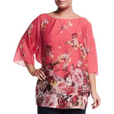 Marina Rinaldi Fresia Floral-Print Tunic (64.990 RUB) ❤ liked on Polyvore featuring plus size women's fashion, plus size clothing, plus size tops, plus size tunics, coral, boatneck tunic, boat neck 3/4 sleeve top, boatneck top, 3/4 sleeve tunic and caftan tunic