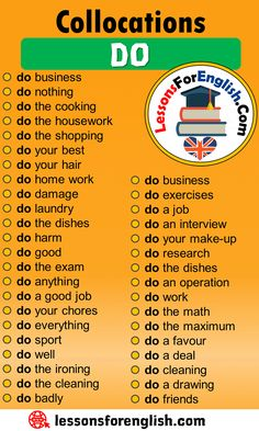 Collocations with DO in English - Lessons For English English Spelling, Teaching English Grammar, English Writing Skills, English Vocabulary Words, Learn English Words, English Language Learning, English Study, German Language, Japanese Language