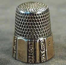 Vintage Ornate Sterling Thimble with Gold Wash