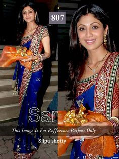 """SHILPA SHETTY BOLLYWOOD SAREE  """"SAREE FABRIC:-Georget BLOUSE FABRIC:-Dhupian SAREE COLOR:-Blue BLOUSE COLOR:-Red WORK:-Embroidery""""   #COD(cash On Delivery) Available on Some Pin Codes in India  For More Enquiry: #whatsapp:-)+91 8980077766 or  #Email:info.99shoppers@gmail.com"""