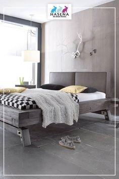 HASENA Factory-Line mit Bettrahmen Bloc 16 mit Kopfteil 'Dorma' und Füssen 'Stabil' Lounge, Stabil, Couch, Furniture, Home Decor, Chair, Bed Frames, Gray, Homes