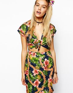 Reclaimed Vintage Dress With Tie Front In Tropical Print