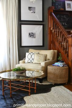 Primitive & Proper: Chic Gray and Gold Living Room