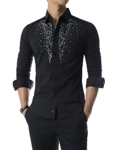 (UNLS02) Luxury Stretchy Diamante Bling Gem Shine Rhinestones Long Sleeve Shirts