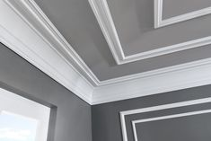Mouldings for ceiling, wall, floor and facade for every style. Crown Molding In Bedroom, Home Ceiling, House Ceiling Design, Bedroom Pop Design, Ceiling Trim, Colored Ceiling, Living Room Wall Color, Remodel Bedroom, Room Wall Colors