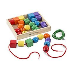 Amazon.com: Melissa & Doug Primary Lacing Beads with 30 Beads and 2 laces: Melissa & Doug: Toys & Games