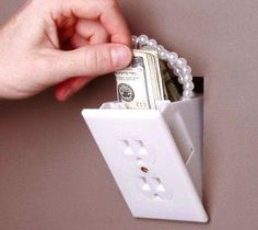 Hidden Outlet Wall Safe - $9 | The Gadget Flow from The Gadget Flow. Saved to Epic Wishlist. #cool #need #safe #secret #outlet #awesome #hidden #want.