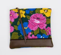 MADEBYHANK — leather-bottomed floral print zipper clutch (multi)