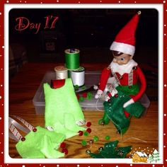 Clothes for our Elf on the Shelf. I made them out of felt and ribbon.