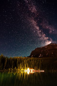 Milky Way at the Lake Louise banff national park in Alberta, Canada