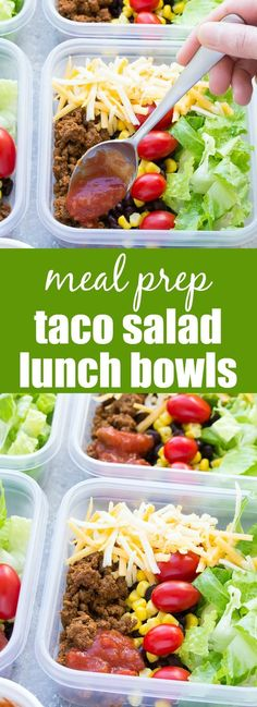 Meal Prep Taco Salad Lunch Bowls that you can make ahead! These easy taco salads are filled with taco beef, lettuce, cheese, black beans, corn and salsa! | www.kristineskitchenblog.com Mexican, Tacos, Lunch, Easy, Ethnic Recipes, Food, Taco Salads, Eat Lunch, Eten