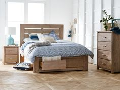 Long Island Queen Bed Frame (With Slatted Headboard and Storage Base) main product image 1