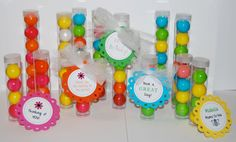 "Clear plastic tubes with caps - Qty 36 - See also ""personalized custom tags"" option & 1"" gumballs - party favors gift shower bridal wedding"