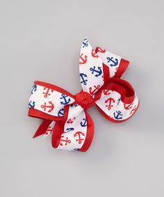 Take a look at this Red Anchor Bow Clip on zulily today!
