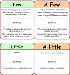What's the difference? few - a few; little - a little. - learn English,differences,words,grammar,english