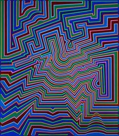 Victor Vasarely, Geometric Designs, Geometric Art, 3d Foto, Funky Art, Shirt Designs, Blue Art, Rug Hooking, Op Art