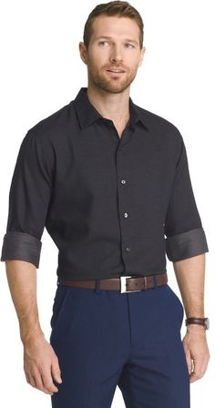 Van Heusen Big /& Tall Solid Classic-Fit Poplin Button-Down Shirt