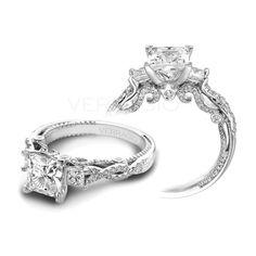 Ladies Three Princess Cut Verragio Engagement Ring