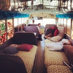 buy an old bus, replace seats with beds, take a road trip: okay